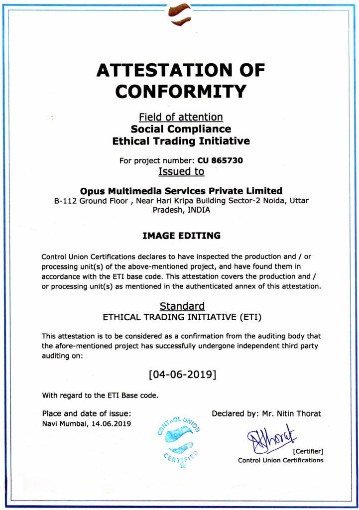 Opus ETI Certification